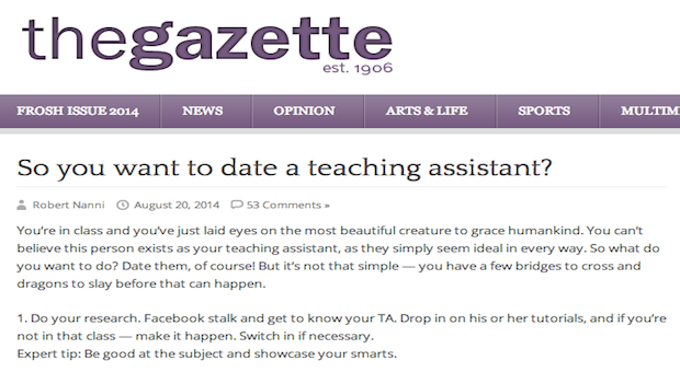 Dating teaching assistant