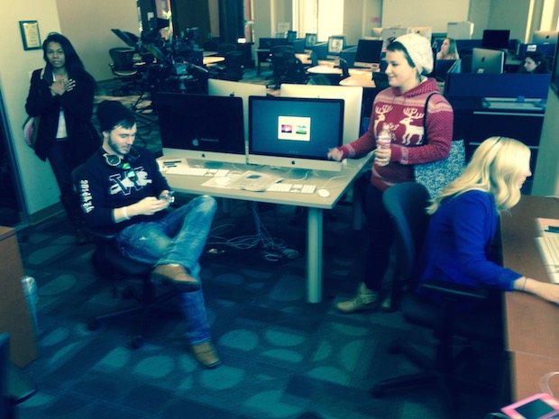 Reporters at OU Nightly, the student-produced newscast at the University of Oklahoma, brave recent snowy weather conditions to gather for a regular 12:30 p.m. editorial meeting.