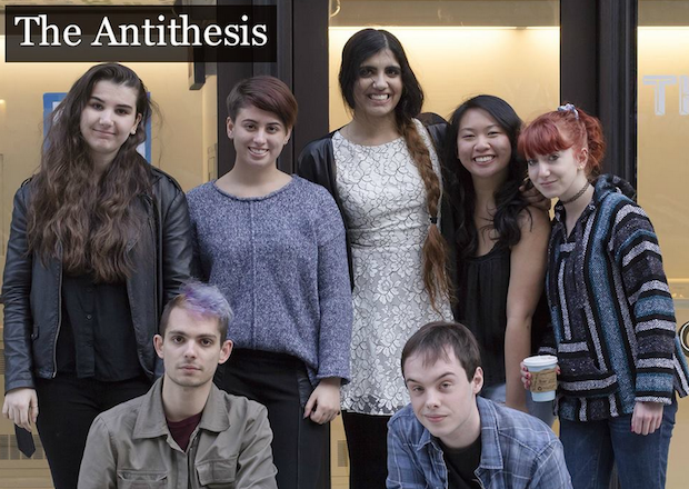 An April 2015 Antithesis staff photo. Among those featured in the top row, (l to r):  Ana Miljak, Adriana Perhamus, Petra Zarah Jarrar and (far right) Rafaella Gunz. Bottom row: Joe Giacona and Thomas Blakeley.